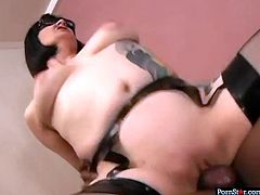 Naughty brunette hoochie gets her cunt fucked by horny BBC. She is eager for cum dessert and starts suck his cock standing on her knees.