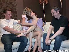 These two horny couples is to meet into the hotel room to have some sex party. They compare each other's sexlife and shared their girlfriends for some new sexperience.