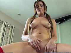 Slender brunette babe loves to examine her shaved pussy. Her playful fingers penetrate her pinkish slit and make her moan with great delight. At the end she sucks big cock standing on her knees.