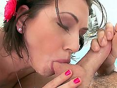 Great Pov action. Staring the always, hot and horny, Sarah Shevon. imagine you are laying down and this sexy slut is sucking on your hard cock. You feel her tongue circling your cock head and her warm mouth goes up and down getting you all wet as she genty squeezes your heavy ball sack.