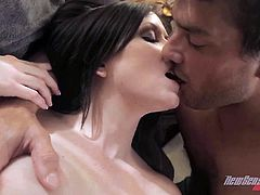 Touch yourself as you watch this brunette MILF, with giant fake jugs wearing a cute bra, while she gets pounded hard and moans like a wild cougar.