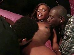 An ebony hottie gives these two guys a blowjob and they both pound that sweet chocolate pussy. She ends up with a wicked double penetration and cums.