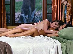 Busty and curvy dark haired bitches with nice asses kiss and lick each other on the bed. Have a look at these bitches in When Girls Play sex video.