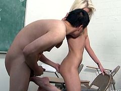 Check out this hot scene where the naughty blonde teen Alexia Sky gives her teacher a footjob before she sucks on his hard cock.