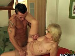 Check out this horny mother in law seducing this dude and getting on her knees to blow this cock like a real champ. He starts to pound her old cunt so hard.