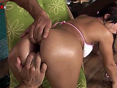 Big assed filthy brunette gets her loose asshole fucked and fisted from behind
