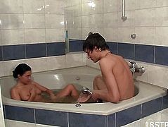 Cutie bathes with a lad in the baths