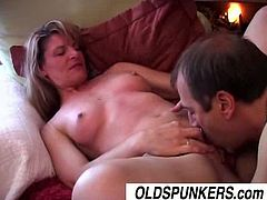 Linda is a mature lady who spends her free time in a delightful way, fucking. She changes positions frequently and enjoys the way this guy's shaft thrusts in her cunt.