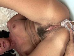 Superb views with milf's hairy twat and staggering boobs during insolent and very kinky solo masturbation scene