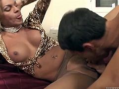 Filthy and sexy blond haired whore with nice body and big dick gets a blowjob and fucks the guy doggystyle. Have a look at this transsexual in Fame Digital sex video.