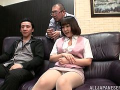Threesome is what this Japanese milf wanted so fucking bad! She gets naked and two studs are pleasing her pussy! So fucking perverted.