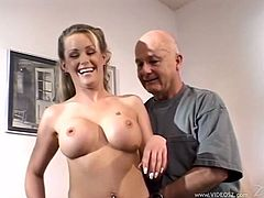All he can do is sit and watch as his hot wife Nina gives head to and gets fucked by a hung, younger guy who makes her cum.