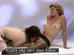 Horny and amazing light haired babe spends the time with well shaped dark haired chick in stockings licking the cunt. Have a look at these bitches in The Classic Porn xxx clip.