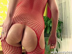 Have fun watching this blonde babe, with a nice ass wearing a fishnet outfit, while she touches herself and acts like a really nasty slut.