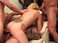 Lewd blonde milf Katrina Angel is gonna prove that she can satisfy a few men at a time. She sucks and rubs many pricks at a time and gets her twat and butt drilled hard simultaneously.