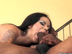 Nadia Styles is horny as fuck and takes big black shaft deep inside her holes! After sucking him off, she rides the monster cock with her ass! Watch this tattoed chick suck a mean cock!