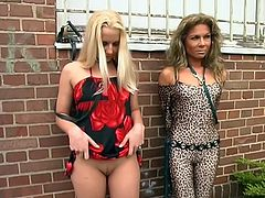 Businessman decides to go for a walk and took with him like a dogs on a leash two very hot whores…