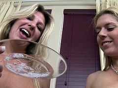 Saliva fetish between busty girls needy for more sleazy adventures during their naughty lesbian show