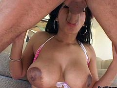 An ebony girl with big nipples gets banged in her asshole