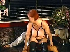 Mature lady looks dashing with a big cock smashing her creamy vag during intense retro sex adventure