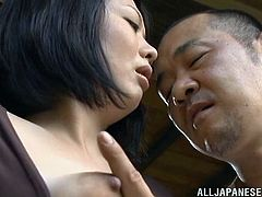 After doing laundry, this couple is out in the cabin sitting on the porch in the Japanese woods. She pulls his cock out and gives it a nice tug. Watch as she leans in to suck on his penis and give him a nice, wet blowjob. He is so pleased by this.