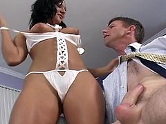 MILF brunette Sandra Romain fucks in her face