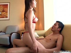 Hot Japanese chick Rei Aimi wearing a miniskirt and sexy lingerie gets fondled by her BF. Then she bends over and allows the stud to pound her coochie from behind.