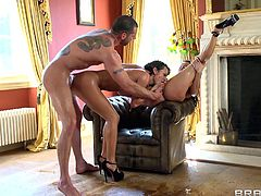 Franceska Jaimes and Sandra Romain are playing dirty games with Jay Snake indoors. They suck his schlong remarcably well and get fucked in the standing, the cowgirl and other positions.