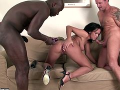 Have fun with this hardcore scene where the beautiful Linet Slag is fucked by two large cocks in a threesome where she's even double penetrated.