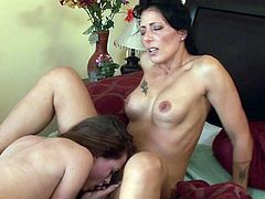 Steamy mom along horny daughter are in for some nasty lesbian stuff while home alone