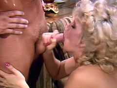 Horny and sexy blonde with nice ass sucks the dick and gets a sperm in her mouth meanwhile attractive brunette gets fucked riding the cock n cowgirl pose. Have a look at these bitches in The Classic Porn sex video.