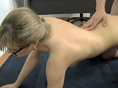 With only black stockings and sexy glasses on, teasing beauty rides on cock with great lust and pleasure