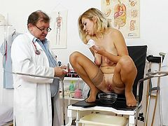 Her pink vag is soon to get stretched by horny doc during insolent exam with stiff things