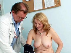 Sofie is a horny mature with big boobs in need to have her carmped cunt checked well by horny gynecologist