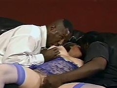 A White BBW gets her huge boobs licked by two Black guys. Of course Kitty Lee takes the opportunity to sucks two big black cocks. Then she gets double penetrated.