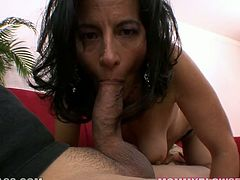 Hot and torrid mature slut Melissa Monet gives her partner great handjob and blowjob, licks his balls while standing on her knees.