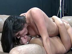 Filthy white hookers Lia Lor and Anatasia Morna suck dicks and take facials