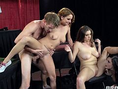 Take a look at this amazing hardcore scene where the three of these sexy ladies are nailed by this guy's thick cock in a hot foursome.