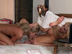 Long and light haired lesbians with sexy boobies and hot pussies provided one another with unforgettable cunnilingus. Look at that dirty sex in When Girls Play sex clip!