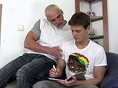 This brunette dude tries a big cock for the first time. The guy who's giving it to him is blonde and has a muscular body. He picked a real hot guy for his first time.