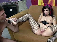 Tattooed Joanna Angel feels like her twat is about to crack by having one large dong inside her wet fanny