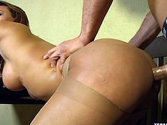 She may not have a pussy, but she has a gaping asshole that is aching for cock. Her man pulls out his massive man meat and gets himself hard. Her nylons are blocking her butthole, but that is no worries. He can just tear them open and fuck away.