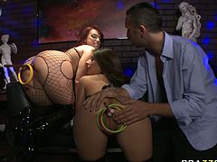 After hard working day in that night club horny boss decided to please those slutty chicks with his staff penis. Those freaky guys started from hard anal fingerfuck with the help of dildos....Look at that steamy threesome in Brazzers Network porn clip!