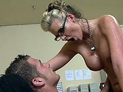 In need for a raise, busty cougar with appealing boobs is willing to do anything with her horny boss