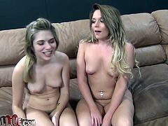 Two shapely Caucasian lesbians passionately lick each other's tight teeny cunts in 69 position. Later one petite bitch sits on the chair and rubs her wet hairy snatch.