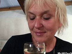 Checkout this couple drinking together with the wife's mother, when the wife had enough she left. Leaving behind her horny husband and drunk mother. The guy just got lucky, or was he lucky anyway? The wife left, the guy's privates were dangling right in front of his in-law. What can you do, her grip on reality is not as hard as it used to be! She started playing with his set of tools, one thing led to another, and soon they were screwing like god damned lovers. Of course the wife came back and nearly crapped herself yelling at the two unfortunate fucks!