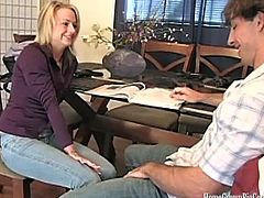 Hot and fresh Kayden Kross has a huge crush on her younger student. She took the opportunity being alone in the room with him and rode his huge dick and got a huge facial.