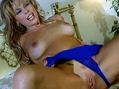 Slim blonde mom called Zarina is having fun with a man in a bedroom. They have anal sex in the reverse cowgirl position and the bitch moans loudly with pleasure.