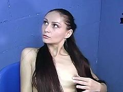 A playful White girl with long hair takes off her clothes in a gloryhole room. Sally gives a blowjob to a guy with a big fat cock.