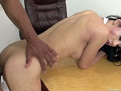 Kinky and sexy dark haired transsexual with nice ass gets her tight asshole banged hard missionary. Have a look at this chick in Fame Digital sex video.